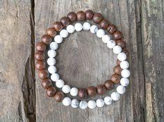 Howlite Gemstone Doubewrap Bracelet with Wood Beads Handmade Detroit Mala Yoga Meditation Minimalist Standing Rock Water Chakra Love Light