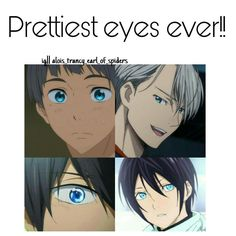 one friend, more of my sisters friend but whatever, is absolutely in love with bright blue eyes so yato (noragami), haru (free) and another haru (my little monster), ciel (black butler) are her absolute favs Anime Boys, Otaku Anime, Manga Anime, I Love Anime, All Anime, Fanart, Digimon, Yato Noragami, Ghibli