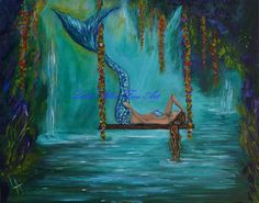 Hey, I found this really awesome Etsy listing at http://www.etsy.com/listing/160295194/mermaid-painting-original-canvas