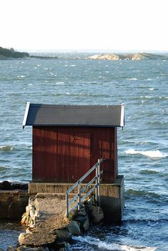 Westcoast boathouse - Sweden | Flickr - Photo Sharing! Beautiful World, Beautiful Places, Dock House, Kingdom Of Sweden, Scandinavian Countries, Unique Buildings, Seen, Coastal Living, Scandinavian Style