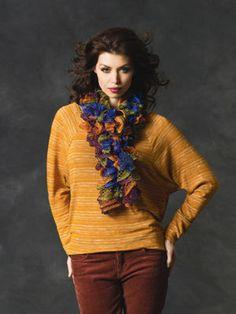 Flirty knit scarf with Red Heart Sashay yarn