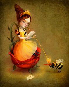 Queen Bee print | love letter fairy  print honey bee art children's art children's illustration - by Lisa Falzon