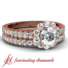 Round Diamond Halo Legacy Engagement Wedding Rings Set In Pave setting