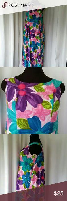 Vintage South Sea's Tiki Dress 60s Vintage Cotton Aloha Dress, Watteau Back, Secret Waist Definer, Blue Hawaiian Floral, South Sea's Fashions, Street Length, Bust 40 Vintage Dresses Maxi