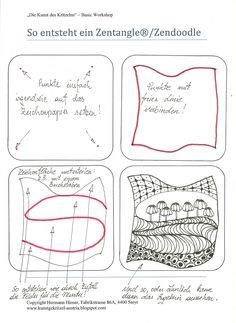 """Hallo Freunde  Heute einmal eine kurze """"Anleitung"""" in wenigen Schritten wie ein Zentangle(R) entstehen kann.  Natürlich ist das folgende Bei..."""
