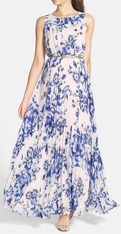 Eliza J Print Pleat Chiffon Maxi Dress