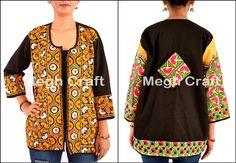 kutch handmade jacket - traditional embroidery - jacket -  mirror work jacket /shrug/koti. BY#craftnfashion #meghcraft #vintagecraft #indiancrafts#indianethnicjewelry