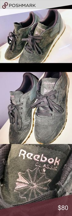 4e6a1bf3495 Brand New Women s Reebok Classics Front suede Back leather Grey Interior  dark purple Label Pink Gel