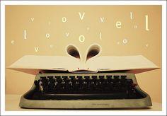 typewriter. book. words. letter.