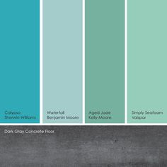 Watery Blue-Green Paint Picks: From left to right: Calypso, from Sherwin Williams; Waterfall, from Benjamin Moore; Aged Jade, from Kelly-Moore and Simply Seafoam, from Valspar. Paint Color Schemes, Colour Pallete, Color Palettes, Color Combos, Paint Palettes, Color Trends, Wall Colors, House Colors, Accent Colors