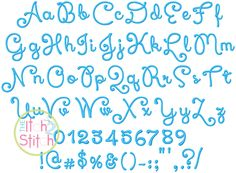 """I2S Xiomara Script Embroidery Font in sizes 0.75"""", 1"""", 1.5"""" and 2"""""""