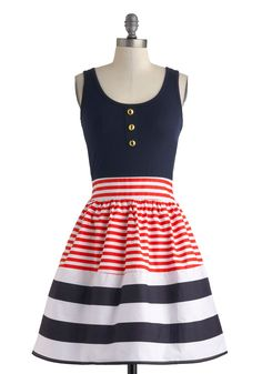 Schooner Said Than Done Dress in Stripes. Sail the vast and salty sea in the yacht-perfect style of this adorable A-line dress! #blue #modcloth