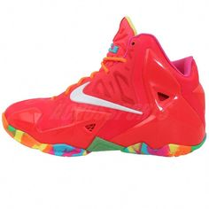 sports shoes 44cb0 2029d Nike Lebron XI GS 11 Fruity Pebbles Pink 2014 Boys Girls Youth Basketball  Shoes