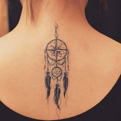 Small Compass Dream Catcher Tattoo On Back - Dream Catcher Tattoo: Dreamcatcher Tattoo Meaning, Ideas and Designs, Tattoos for Women, Small Dreamcatcher Tattoos Girly Tattoos, Trendy Tattoos, Love Tattoos, Unique Tattoos, New Tattoos, Small Tattoos, Tattoos For Women, Crown Tattoos, Celtic Tattoos