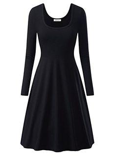 3b8da1e4098 OhSeaya Damen Einfache Beiläufiges Langarm Basic Kleider Falten Stretch  Freizeitkleid Knielang BKS557-BLS