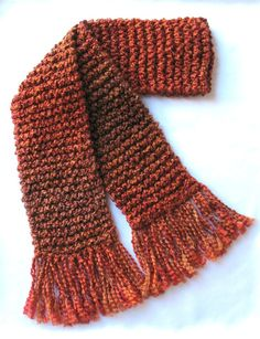 Burnt Orange Scarf Extra Long Men Women Chunky Hand Knit Winter Scarf Auburn Cinnamon Rust Brown by SticksNStonesGifts
