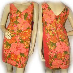 NEW NWT ORANGE Hawaiian Floral Hibiscus Flowers Sleeveless MINI DRESS Summer $39.98
