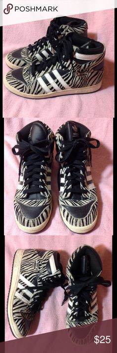 Mens ADIDAS D Rose Zebra basketball shoes High Top Hard to find.  In good condition.  Could use a cleaning.  Soles are in great shape.  Color may look different on your screen. Adidas Shoes Athletic Shoes