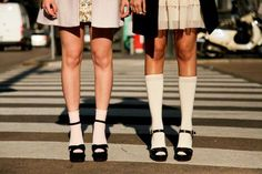 Bobby socks and platform shoes. I hated the bobby socks and loved my platform shoes - so 70's