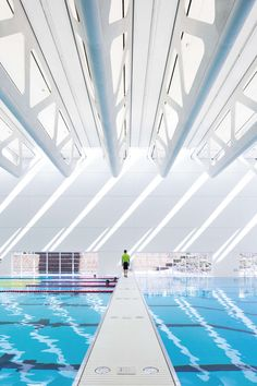 The Guildford Aquatic Centre is a square foot expansion to the existing Guildford Recreation Centre. The new Aquatic Centre is a recreation and therap. Olympic Swimming, Indoor Swimming Pools, Swimming Pool Designs, Halle, Architecture Student, Architecture Photo, Architecture Quotes, Sport Hall, Beautiful Pools