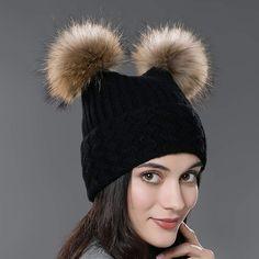URSFUR Unisex Autumn Knit Wool Beanie Hat Women Winter Hat with Fur Ball  Pom Pom a92ee4299c1e