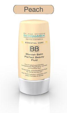 BLEMISH BALM PERFECT BEAUTY FLUID Peach (40ml) Essential Care  Für normale und trockene Haut geeignet und einen mittleren warmen Hautton.  Das neue BLEMISH BALM PERFECT BEAUTY FLUID von Dr. Schrammek Kosmetik spendet Ihnen Tagespflege und Make-up in nur einem Produkt. Das Fluid in der Nuance Peach wurde für die normale und trockene Haut entwickelt - für makellose Deckkraft .  http://www.best-kosmetik.de/marken/dr-med-christine-schrammek/trockene-haut/bb-perfect-beauty-fluid-peach-ec.html