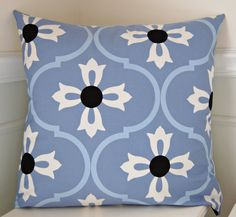Geometric Pillow Cover, Blue and White Pillow, Blue Throw PIllow Cover, 20x20 Inch Pillow, Cushion Cover by CottagePixie on Etsy