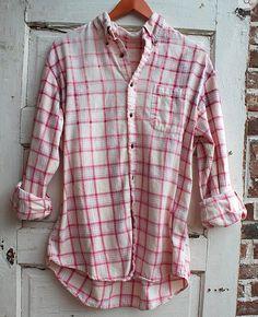 Cranberry distressed vintage flannel