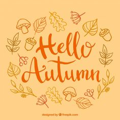 Hello autumn, warm colors Free Vector