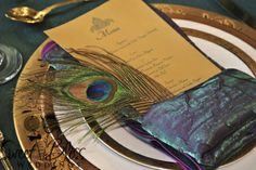 """""""Arabian Nights"""" @Sarah Nicholson this would be great for at tables but we don't really have a menu, but we could give each person a peacock feather as a gift to take home??"""