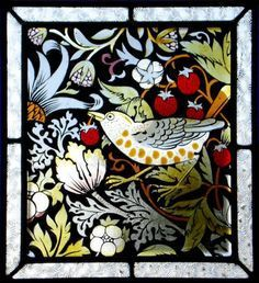 inspired by The Strawberry Thief by William Morris Leaded Glass, Mosaic Glass, Fused Glass, Glass Art, Stained Glass Paint, Stained Glass Designs, Stained Glass Windows, The Strawberry Thief, William Morris Art