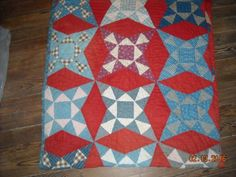 1890s-Hand-Pieced-Quilted-Quilt-Red-Blue-Full-Size-4-Point-Star