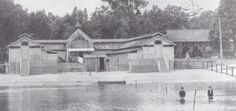 One of the resort's bath houses in the 1880s. People didn't normally swim for recreation at this point in time, but came to bathe. The bath houses allowed for guests to change and relax.  Cedar Point, Sandusky, OH