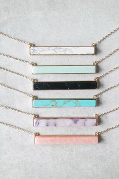 """Add a pop of color to your look with this stylish stone bar necklace. Details: 27"""" + 3"""" extender Gold plated Lobster closure clasp"""