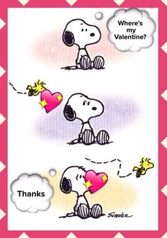 """Where's my Valentine?"", Snoopy and Woodstock on Valentines Day"