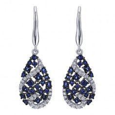 14k White Gold Diamond and Sapphire Drop Earrings 0.16 ct EG12615W45SA