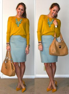 mustard yellow top, sky blue skirt