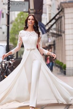 length Sleeves Bridal Jumpsuit Elegant Wedding pants dress with detachable train - Wedding Pantsuits & Jumpsuits Wedding Pantsuit, Wedding Attire, Wedding Gowns, Wedding Ceremony, Womens Wedding Suits, Lace Wedding, Backless Wedding, Wedding Bridesmaids, Mermaid Wedding