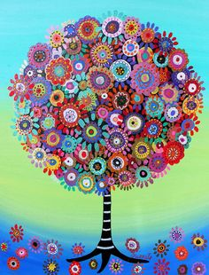 Tree of Life Whimsical Folk Art Original Painting with by prisarts, $250.00. Great Christmas Gift and Housewarming Gift  Bar, Bat, Mitzvah, Whimsical Tree