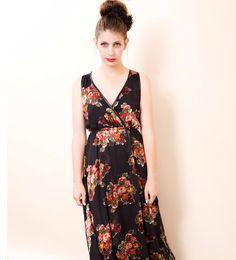 Floral summer dress , Women wrap dress , Romantic dress , Boho dress , Sleeveless dress , Sun dress women di IsidoraAnneFashion su Etsy
