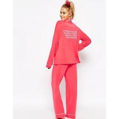 Wildfox Valentines Kiss Forever Pajama Set ($211) ❤ liked on Polyvore featuring intimates, sleepwear, pajamas, red, wildfox, red pajamas and red pjs