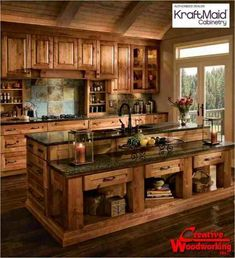 This would look wonderful with the red appliances, and just a couple glass doors on the upper cabinets