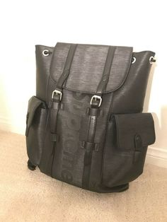 5fd9f613d5a4 READ DESCRIPTION BEFORE BIDDING Supreme Christopher Backpack BLACK PU  LEATHER  fashion  clothing  shoes  accessories  mensaccessories  bags (ebay  link)
