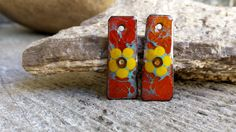 Mellow Yellow Flowers Enamel Earring Charms for by BlueHareartwear