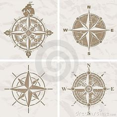 Vector illustration with four vintage compass rose.
