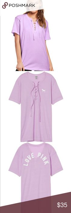 NWT Victoria Secret Pink Campus Lace Up Tee Brand new with tag PINK Victoria's Secret Tops Tees - Short Sleeve