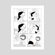 Shop gallery quality art prints by Catana Chetwynd. Cute Couple Comics, Couples Comics, Couple Cartoon, Cute Comics, Funny Comics, Relationship Cartoons, Funny Relationship, Cute Relationships, Cantana Comics