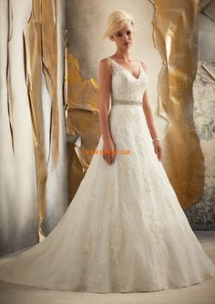 Look fabulous on your special day in this Bridal by Mori Lee 1915 wedding gown. This A line gown is made of Venice lace appliques on tulle over chantilly lace. The bodice features a v-shaped neckline and a v-shaped back with a removable tie belt. Mori Lee Bridal, Mori Lee Wedding Dress, Lace Wedding Dress, 2015 Wedding Dresses, Wedding Dress Styles, Wedding Attire, Bridal Dresses, Wedding Gowns, One Shoulder Wedding Dress