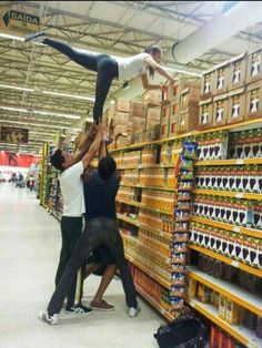 ...you do/did stunts anywhere you could, even the grocery store. | 35 Things Every Cheerleader Will Understand #cheer #cheerleader #cheerleading