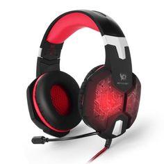 Marsboy Gaming Headset Kopfhörer USB/Klinken-Stecker Mikrofon LED Effekt für PC Film Gaming Spielen Chat Musik mit Adapter für Playstation Rot.
